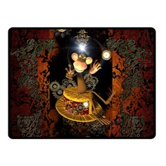 Steampunk, Funny Monkey With Clocks And Gears Double Sided Fleece Blanket (Small)