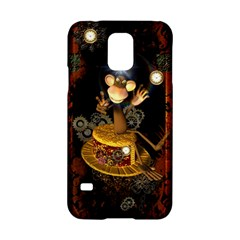 Steampunk, Funny Monkey With Clocks And Gears Samsung Galaxy S5 Hardshell Case