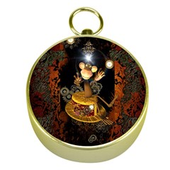 Steampunk, Funny Monkey With Clocks And Gears Gold Compasses