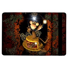 Steampunk, Funny Monkey With Clocks And Gears iPad Air Flip
