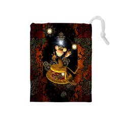 Steampunk, Funny Monkey With Clocks And Gears Drawstring Pouches (Medium)