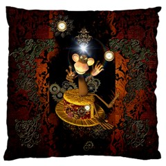Steampunk, Funny Monkey With Clocks And Gears Standard Flano Cushion Cases (One Side)