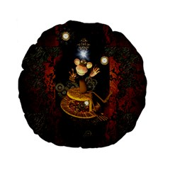 Steampunk, Funny Monkey With Clocks And Gears Standard 15  Premium Flano Round Cushions