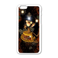 Steampunk, Funny Monkey With Clocks And Gears Apple iPhone 6/6S White Enamel Case