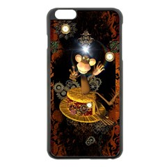 Steampunk, Funny Monkey With Clocks And Gears Apple iPhone 6 Plus/6S Plus Black Enamel Case