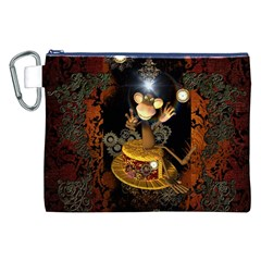 Steampunk, Funny Monkey With Clocks And Gears Canvas Cosmetic Bag (XXL)