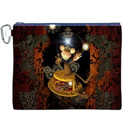Steampunk, Funny Monkey With Clocks And Gears Canvas Cosmetic Bag (XXXL)