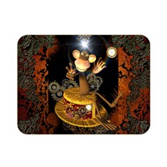 Steampunk, Funny Monkey With Clocks And Gears Double Sided Flano Blanket (mini)