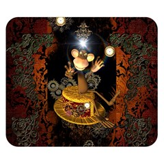 Steampunk, Funny Monkey With Clocks And Gears Double Sided Flano Blanket (Small)