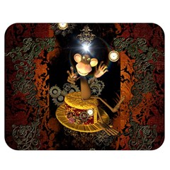 Steampunk, Funny Monkey With Clocks And Gears Double Sided Flano Blanket (Medium)