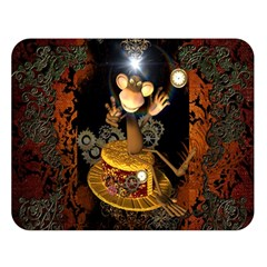 Steampunk, Funny Monkey With Clocks And Gears Double Sided Flano Blanket (large)