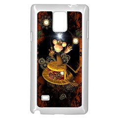 Steampunk, Funny Monkey With Clocks And Gears Samsung Galaxy Note 4 Case (White)
