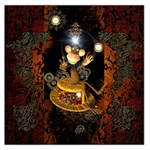 Steampunk, Funny Monkey With Clocks And Gears Large Satin Scarf (Square) Front