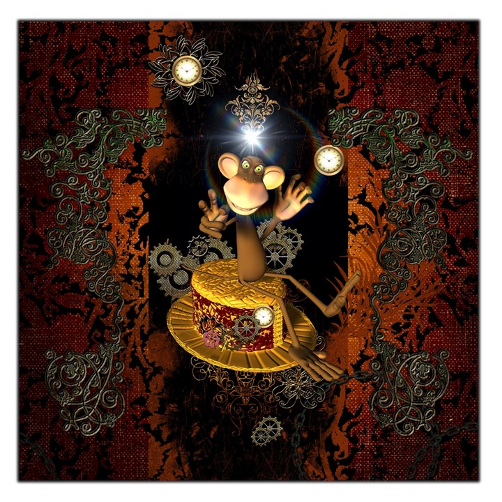 Steampunk, Funny Monkey With Clocks And Gears Large Satin Scarf (Square)