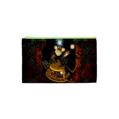 Steampunk, Funny Monkey With Clocks And Gears Cosmetic Bag (XS)
