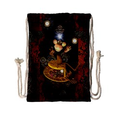 Steampunk, Funny Monkey With Clocks And Gears Drawstring Bag (small)