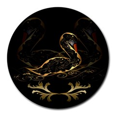 Wonderful Swan In Gold And Black With Floral Elements Round Mousepads