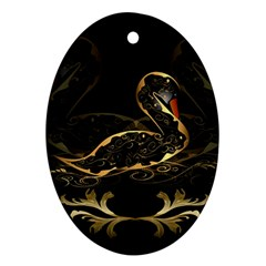 Wonderful Swan In Gold And Black With Floral Elements Ornament (Oval)