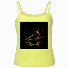 Wonderful Swan In Gold And Black With Floral Elements Yellow Spaghetti Tanks