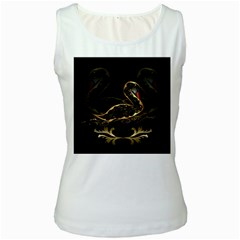 Wonderful Swan In Gold And Black With Floral Elements Women s Tank Tops