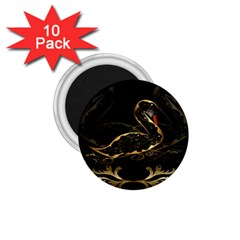 Wonderful Swan In Gold And Black With Floral Elements 1.75  Magnets (10 pack)