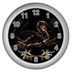 Wonderful Swan In Gold And Black With Floral Elements Wall Clocks (Silver)