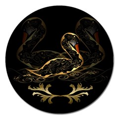 Wonderful Swan In Gold And Black With Floral Elements Magnet 5  (Round)