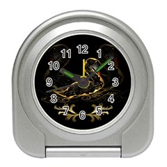 Wonderful Swan In Gold And Black With Floral Elements Travel Alarm Clocks