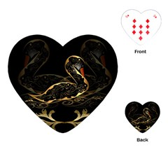 Wonderful Swan In Gold And Black With Floral Elements Playing Cards (heart)