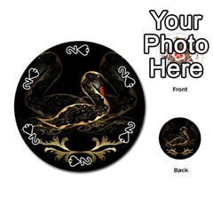 Wonderful Swan In Gold And Black With Floral Elements Playing Cards 54 (Round)
