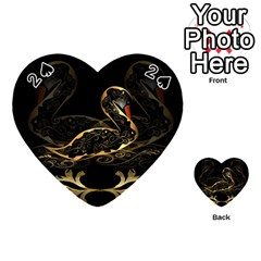 Wonderful Swan In Gold And Black With Floral Elements Playing Cards 54 (heart)