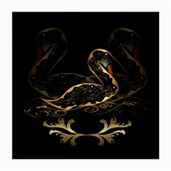 Wonderful Swan In Gold And Black With Floral Elements Medium Glasses Cloth