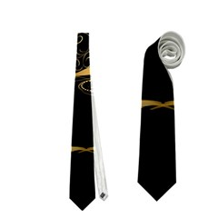 Wonderful Swan In Gold And Black With Floral Elements Neckties (Two Side)