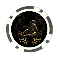Wonderful Swan In Gold And Black With Floral Elements Poker Chip Card Guards