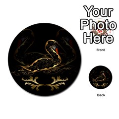 Wonderful Swan In Gold And Black With Floral Elements Multi-purpose Cards (Round)