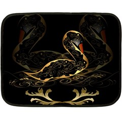 Wonderful Swan In Gold And Black With Floral Elements Fleece Blanket (Mini)