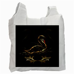 Wonderful Swan In Gold And Black With Floral Elements Recycle Bag (Two Side)