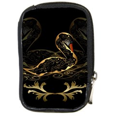 Wonderful Swan In Gold And Black With Floral Elements Compact Camera Cases