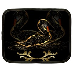 Wonderful Swan In Gold And Black With Floral Elements Netbook Case (XL)