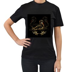 Wonderful Swan In Gold And Black With Floral Elements Women s T-Shirt (Black)
