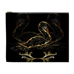 Wonderful Swan In Gold And Black With Floral Elements Cosmetic Bag (XL)