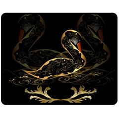 Wonderful Swan In Gold And Black With Floral Elements Fleece Blanket (Medium)
