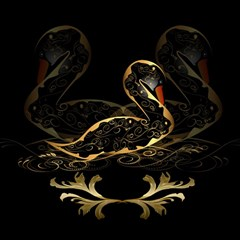Wonderful Swan In Gold And Black With Floral Elements Magic Photo Cubes