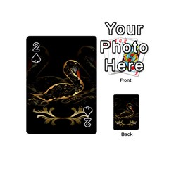 Wonderful Swan In Gold And Black With Floral Elements Playing Cards 54 (Mini)