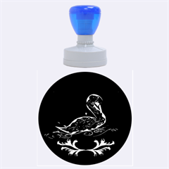 Wonderful Swan In Gold And Black With Floral Elements Rubber Round Stamps (Large)