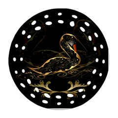 Wonderful Swan In Gold And Black With Floral Elements Round Filigree Ornament (2Side)