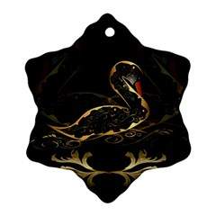 Wonderful Swan In Gold And Black With Floral Elements Snowflake Ornament (2-Side)