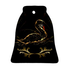 Wonderful Swan In Gold And Black With Floral Elements Bell Ornament (2 Sides)