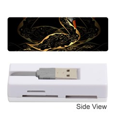 Wonderful Swan In Gold And Black With Floral Elements Memory Card Reader (stick)
