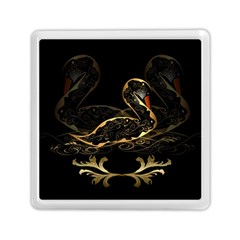Wonderful Swan In Gold And Black With Floral Elements Memory Card Reader (Square)